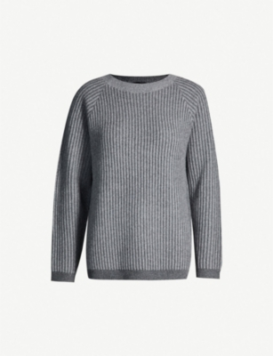 THEORY Boat-neck ribbed-cashmere jumper