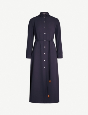 THEORY Button-detail crepe maxi shirtdress