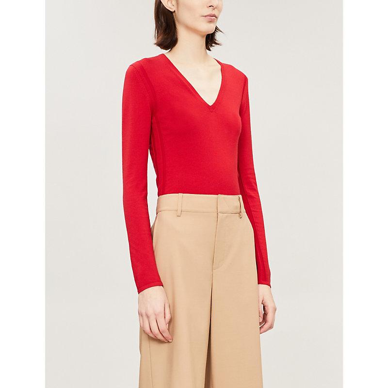Refine V-Neck Wool Long-Sleeve Pullover Sweater in Peppercorn