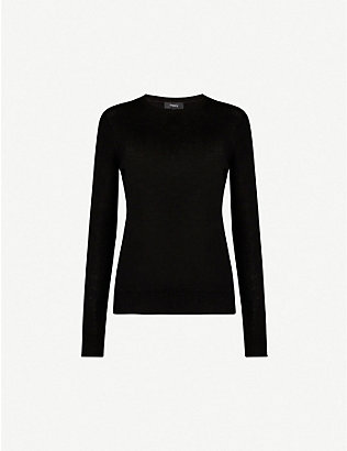 THEORY: Regal crew-neck wool-blend jumper
