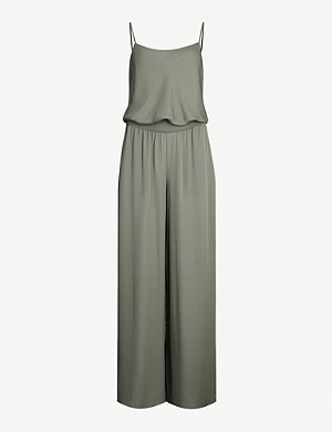 THEORY Scoop-neck wide-leg silk-crepe jumpsuit