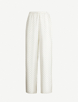 THEORY Polka-dot high-rise wide silk-twill trousers