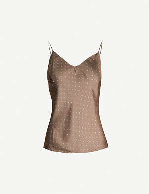 THEORY Polka-dot sleeveless silk top