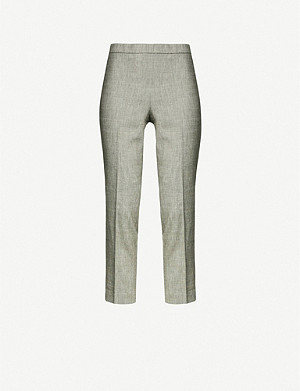 THEORY Tapered high-rise linen-blend trousers