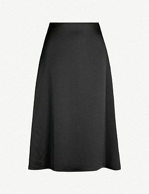 THEORY A-line hammered-satin skirt