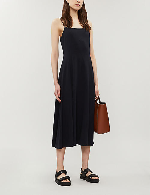 THEORY Square neck stretch-cotton blend midi dress