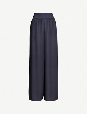 THEORY Wide-leg high-rise silk-crepe de Chine trousers