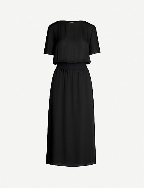 THEORY Ribbed-detail silk-crepe dress