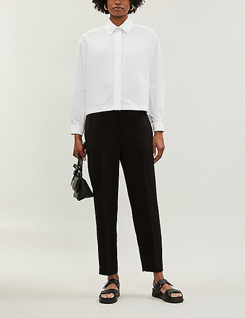 067f71e5b0e THEORY High-rise relaxed-fit jersey trousers