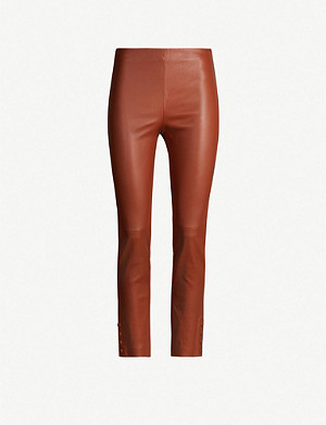 THEORY Snap-fastened leather leggings