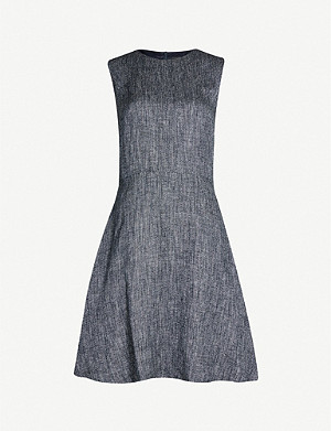 THEORY Textured linen-blend woven dress