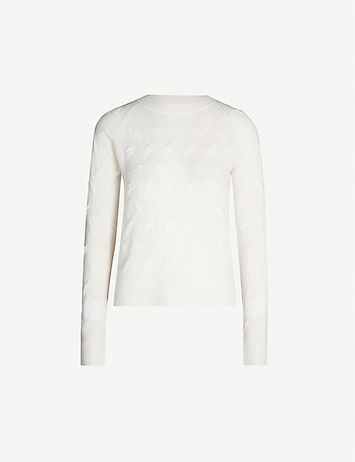 THEORY Tucked woven cashmere jumper