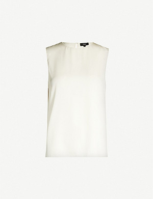 THEORY Sleeveless stretch-silk blouse