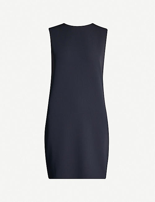 THEORY Column sleeveless crepe mini dress