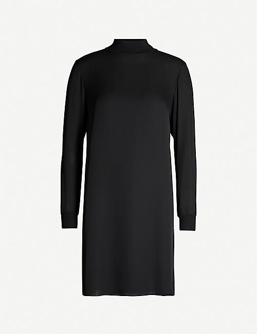 THEORY Mock-neck mini silk dress