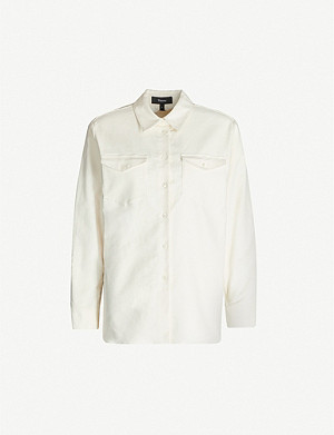 THEORY Oversized brushed cotton-blend twill shirt