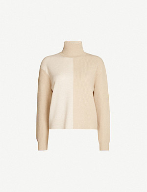 THEORY Colour-block cashmere jumper