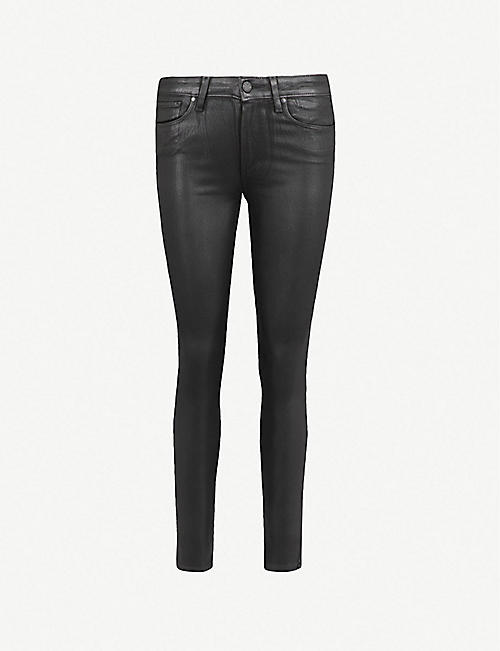 PAIGE: Hoxton Ankle ultra-skinny high-rise coated stretch-denim jeans