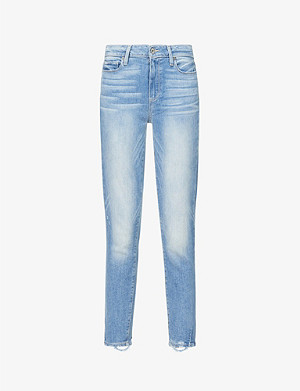 PAIGE Hoxton frayed-hem ultra-skinny high-rise jeans