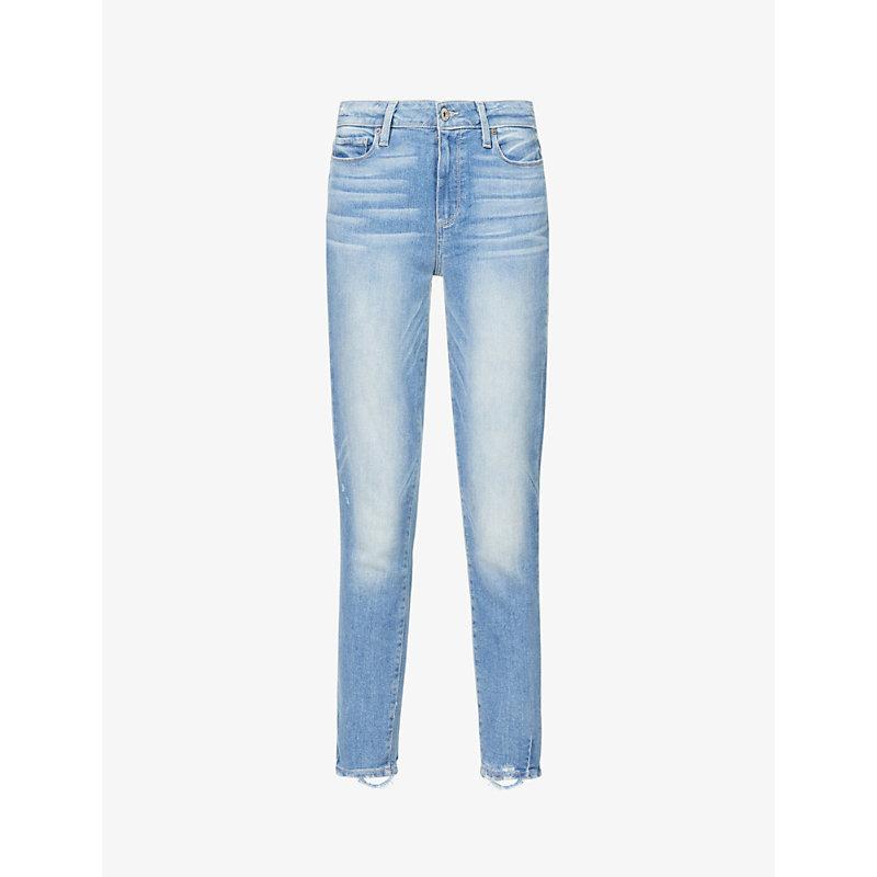 PAIGE | Hoxton Frayed-Hem Ultra-Skinny High-Rise Jeans | Goxip