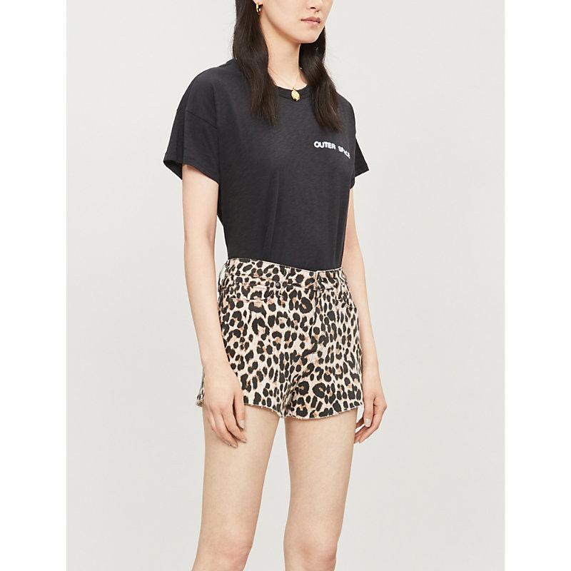 PAIGE | High-Rise Leopard-Print Stretch-Denim Shorts | Goxip
