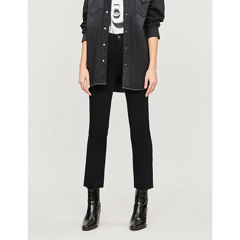 PAIGE | Paige Denim Jacqueline Straight High-Rise Jeans 27, Black Shadow | Goxip
