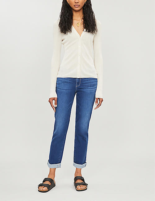 PAIGE Bridgette straight turn-up hem high-rise jeans