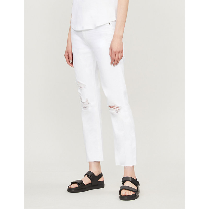 PAIGE | Noella High-Rise Ripped Straight-Leg Jeans | Goxip
