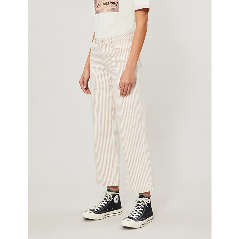 PAIGE | Nellie Mid-Rise Striped Straight-Leg Jeans | Goxip