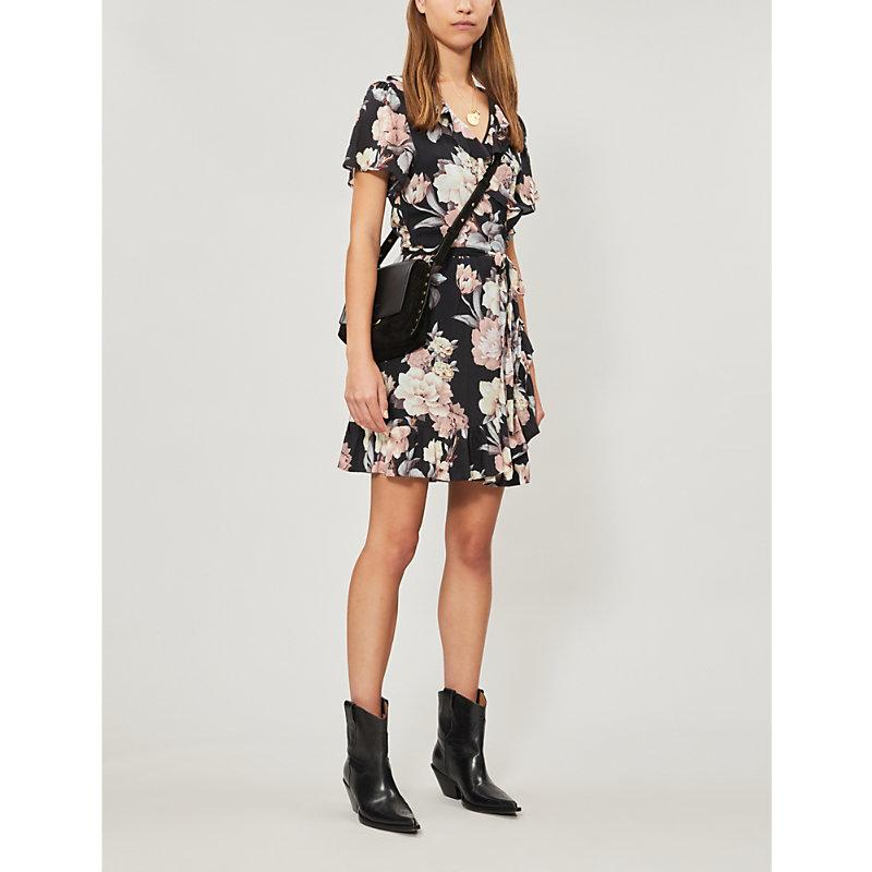 PAIGE | Cardamom Floral-Print Poplin Mini Wrap Dress | Goxip
