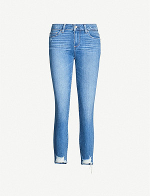 PAIGE Skyline high-rise cropped faded skinny jeans