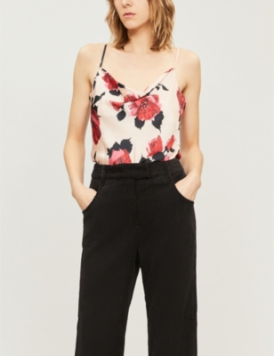 Paige LADIES NUDE AND RUMBA RED GIOVANNA ROSE-PRINT SATIN TOP