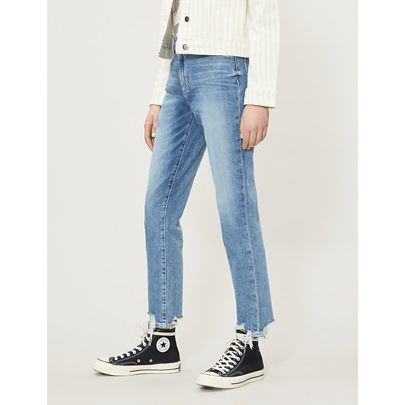 PAIGE | Sarah Faded Skinny High-Rise Jeans | Goxip