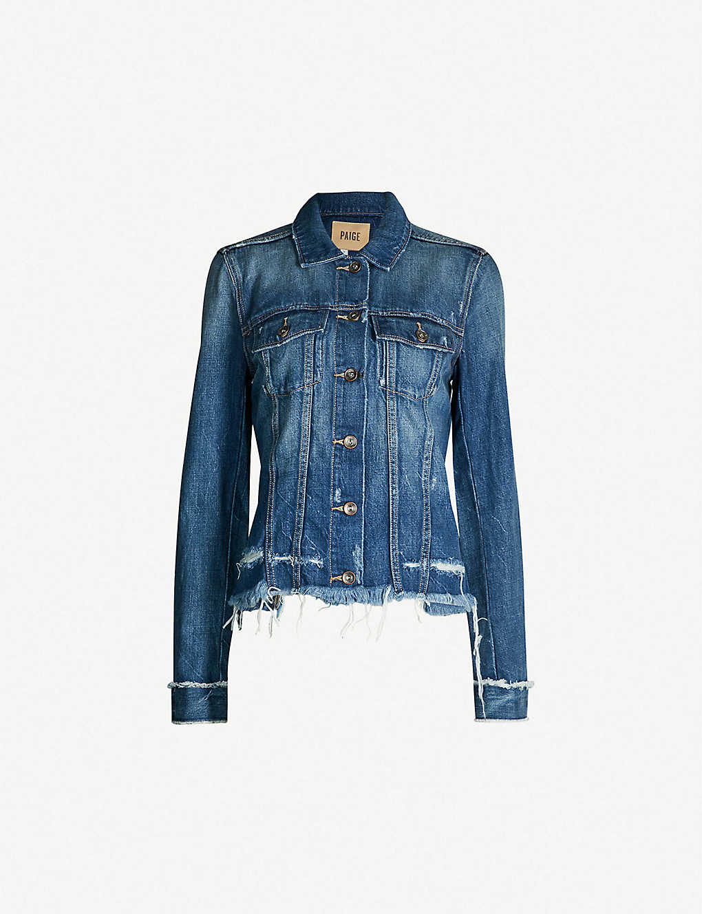 9d77a21352f7 PAIGE - Rowan cropped ripped stretch-denim jacket | Selfridges.com