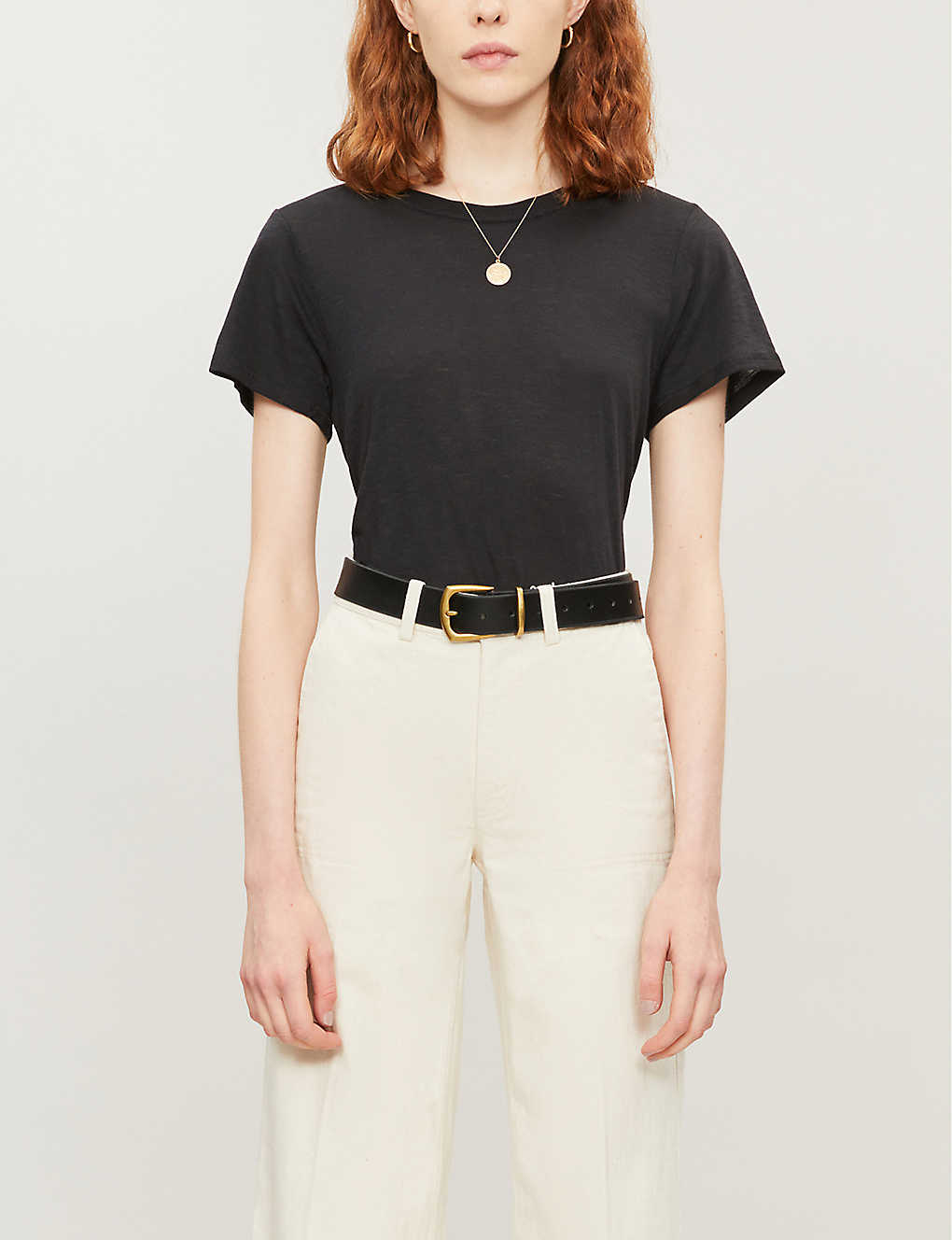 PAIGE: Ellison round-neck cotton and modal-blend T-shirt