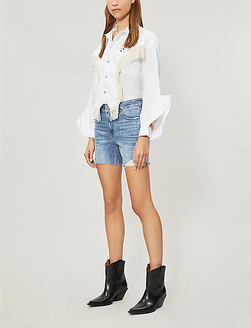 PAIGE Sarah faded ripped stretch-denim shorts