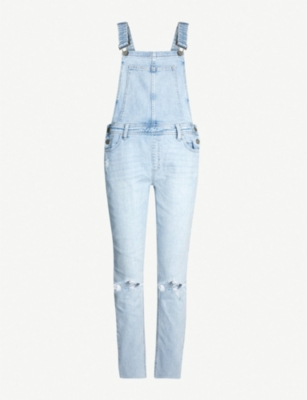 PAIGE Sierra sleeveless stretch-denim dungarees
