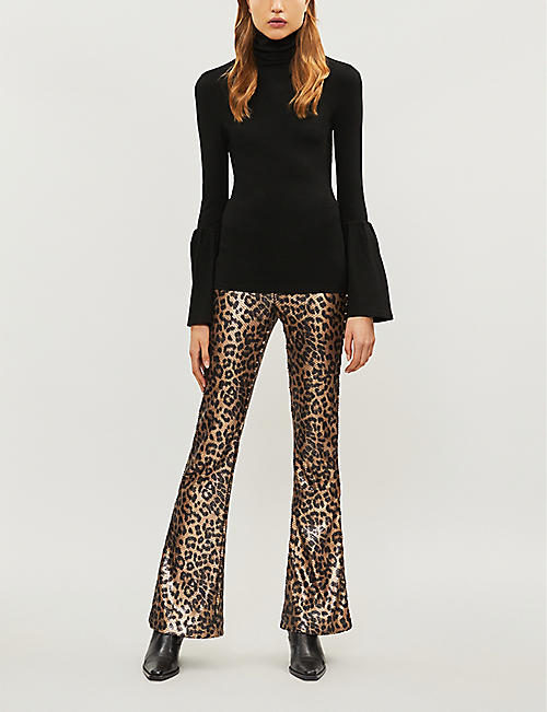 PAIGE Lou Lou leopard-print high-rise flared sequinned trousers