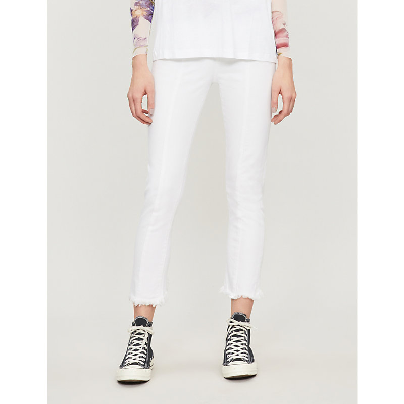 PAIGE | Frayed-Cuff Slim High-Rise Jeans | Goxip