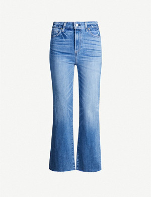 PAIGE Atley cropped flared faded high-rise jeans