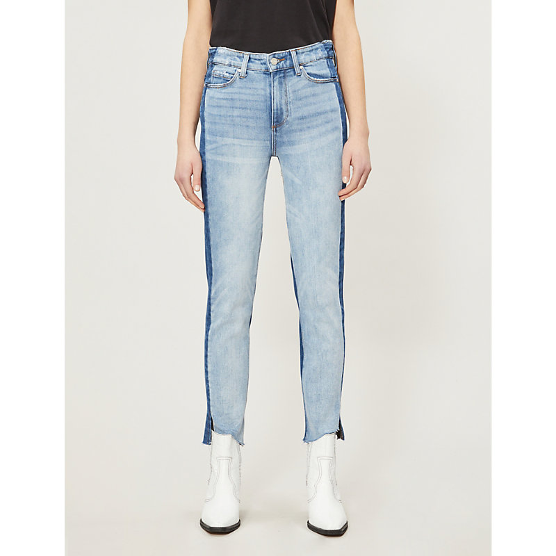 PAIGE | Hoxton Fray Two-Toned Straight Mid-Rise Jeans | Goxip