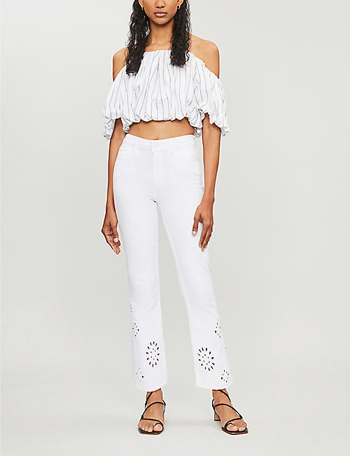 PAIGE Colette high-rise floral-cutout flared jeans