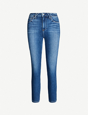 PAIGE Hoxton cropped faded high-rise jeans