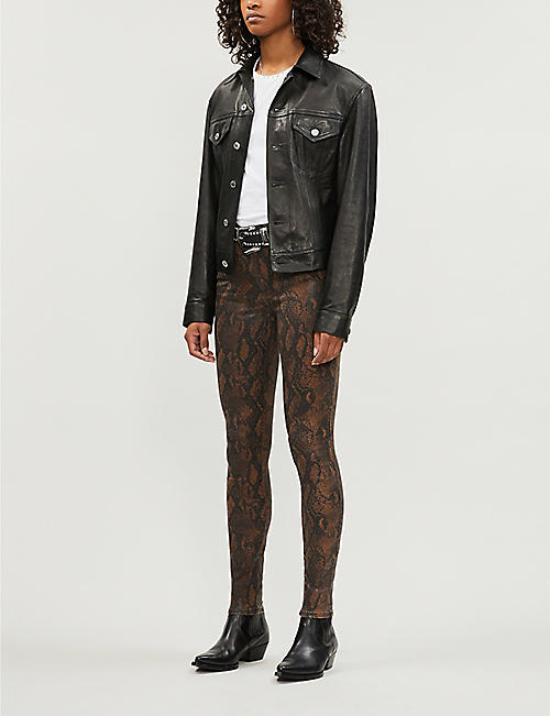 PAIGE Hoxton snake-embossed tapered high-rise jeans