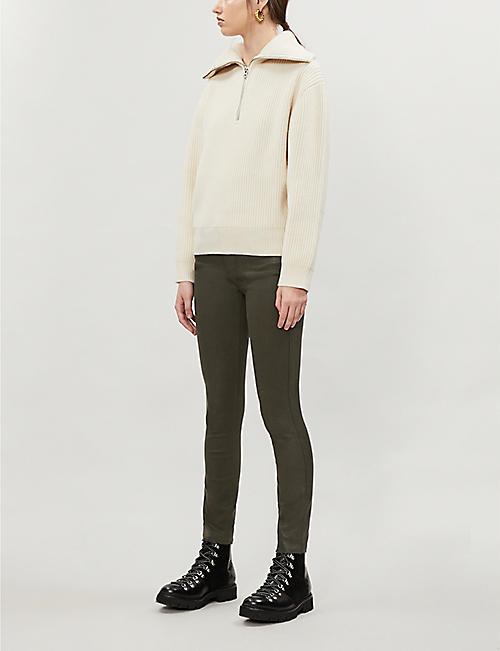 PAIGE Verdugo skinny mid-rise cotton-blend coated trousers
