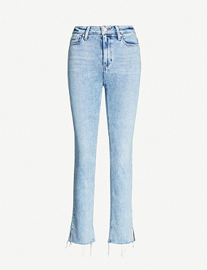 PAIGE Cindy acid-wash slim mid-rise jeans