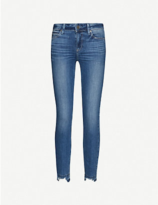 PAIGE: Verdugo distressed skinny mid-rise stretch-denim jeans