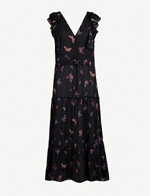 PAIGE Basil ruffle-trimmed butterfly-print silk midi dress