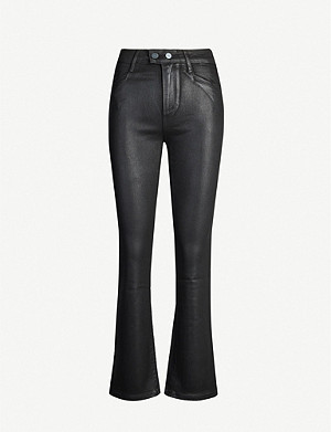 PAIGE Claudine cropped flared waxed high-rise jeans