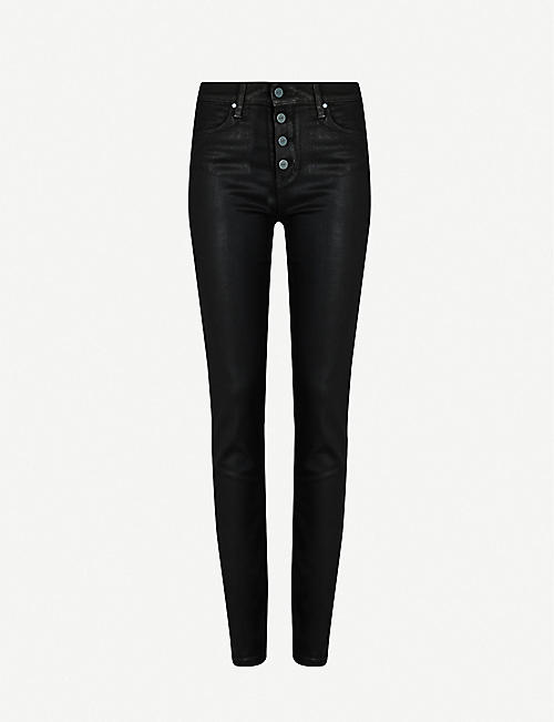 PAIGE Hoxton skinny high-rise cotton-blend coated trousers